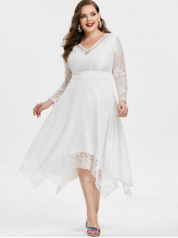 Plus Size Lace Insert Flounce Handkerchief Party Dress