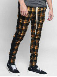 Plaid Pattern Casual Drawstring Pants -