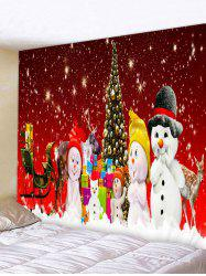 Christmas Tree Snowman Family Print Tapestry Wall Hanging Art Decoration -