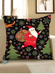 Father Christmas Tree Polyester Pillow Cover -