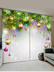 2 Panels Christmas Balls Stars Printed Window Curtains -