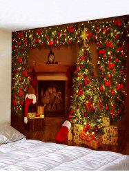 Christmas Tree Gifts Fireplace Print Tapestry Wall Hanging Art Decoration -