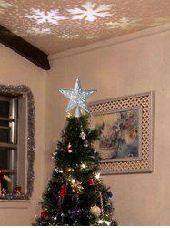 Star Shape Christmas Tree Topper with Rotatable LED Projector Light -