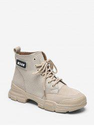 Letter Graphic Cloth Cargo Boots -