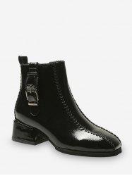 Dual Buckle Mid Heel Ankle Boots -
