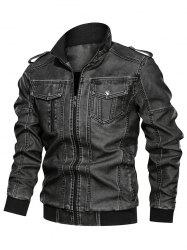 Solid Color Faux Leather Cargo Jacket -