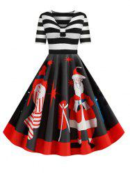Santa Claus Striped Gathered Christmas Dress -