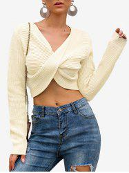 V Neck Twisted Crop Sweater -