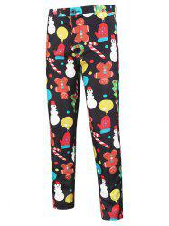Cartoon Snowman Pattern Chino Pants -