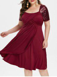 Plus Size Sequined A Line High Waist Dress -
