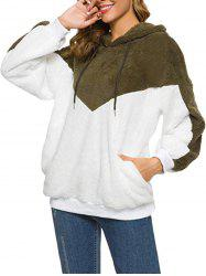 Fluffy Two Tone Drop Shoulder Hoodie -