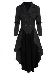 Lace-up Back Double Breasted High Low Skirted Coat -