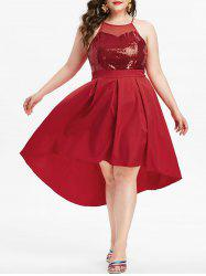 Plus Size Mesh Panel Sequined Backless Dress -