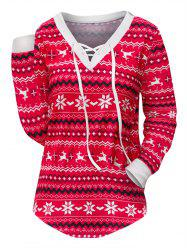 Snowflake Lace Up Long Sleeves Christmas Tee -