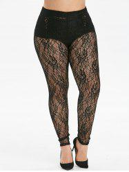 Openwork High Waisted Lace Plus Size Leggings -