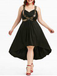 Plus Size Sequined Plunging Neck Ruched High Low Cocktail Party Dress -