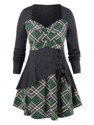 Plus Size Plaid Lace Up Tunic T Shirt -