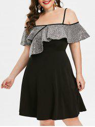Plus Size Overlay Sequined Cami Cocktail Party Dress -