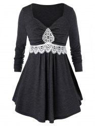 Плюс размер Ruched Contrast Lace T Shirt -