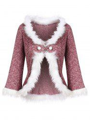 Loop Button Faux Fur Trim Heather Knit Cardigan -