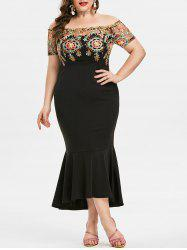 Plus Size Off Shoulder Embroidered Fishtail Cocktail Dress -