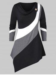 Plus Size Asymmetric Cowl Neck Colorblock T Shirt -