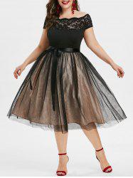 Plus Size Off Shoulder Midi Evening Party Dress -