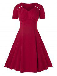 Plus Size Sweetheart Neck Midi Ruched A Line Dress -