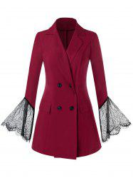 Plus Size Double Breasted Lace Bell Sleeve Blazer -