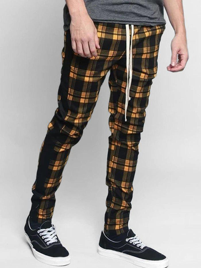 Chic Plaid Pattern Casual Drawstring Pants