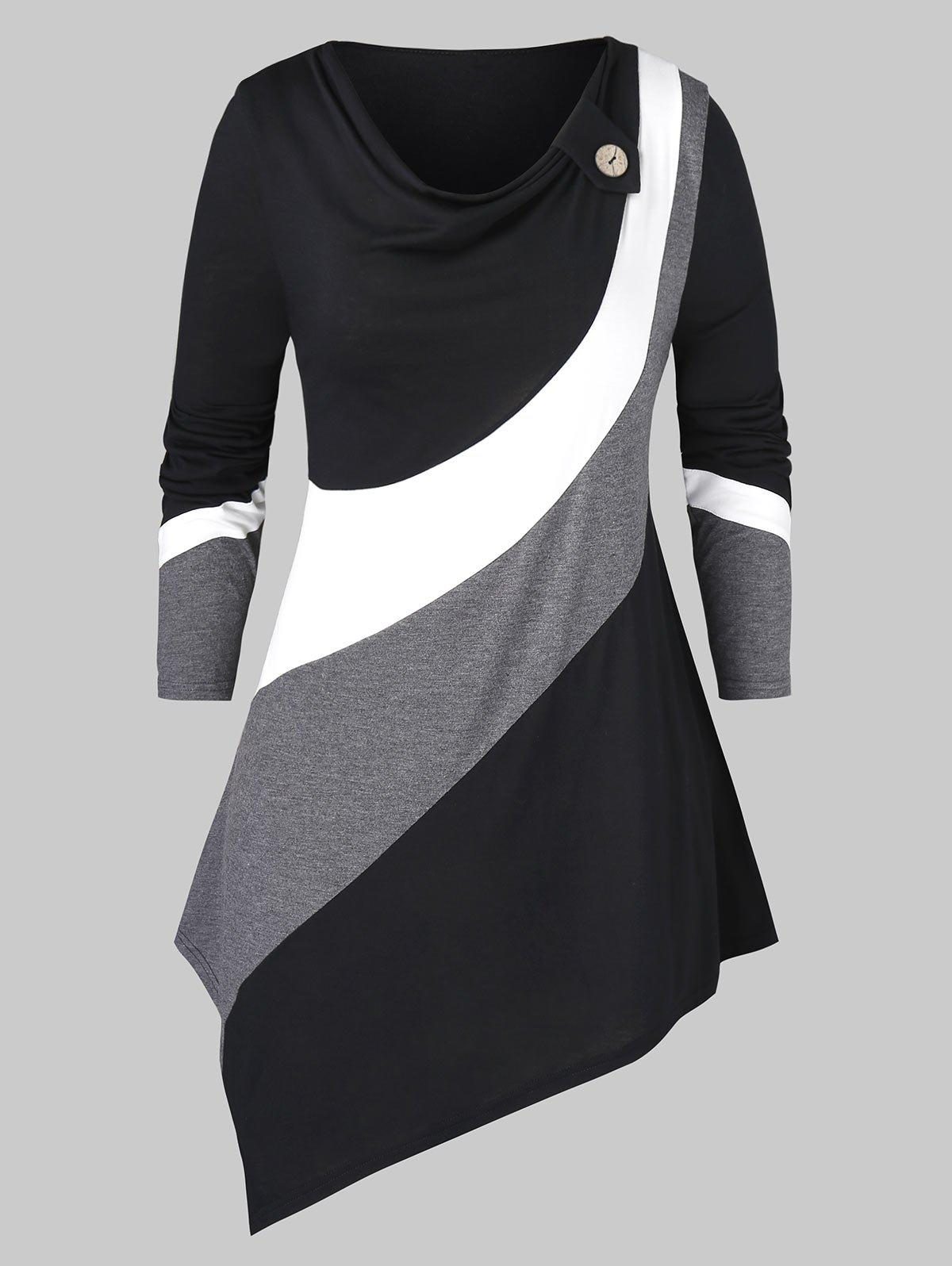 Chic Plus Size Asymmetric Cowl Neck Colorblock T Shirt