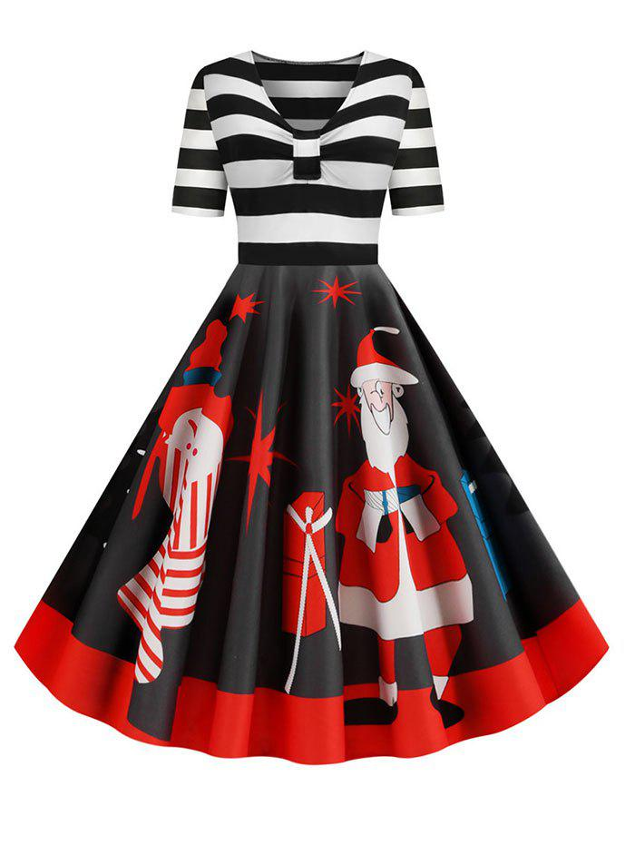 Online Santa Claus Striped Gathered Christmas Dress