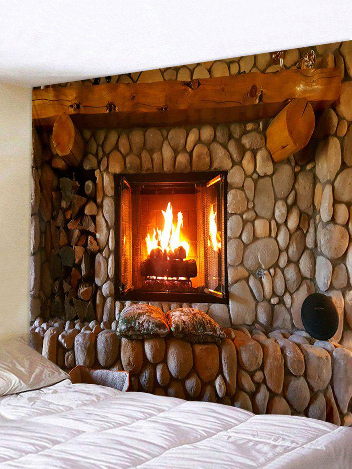 Store Christmas Cobblestone Fireplace Pattern Tapestry