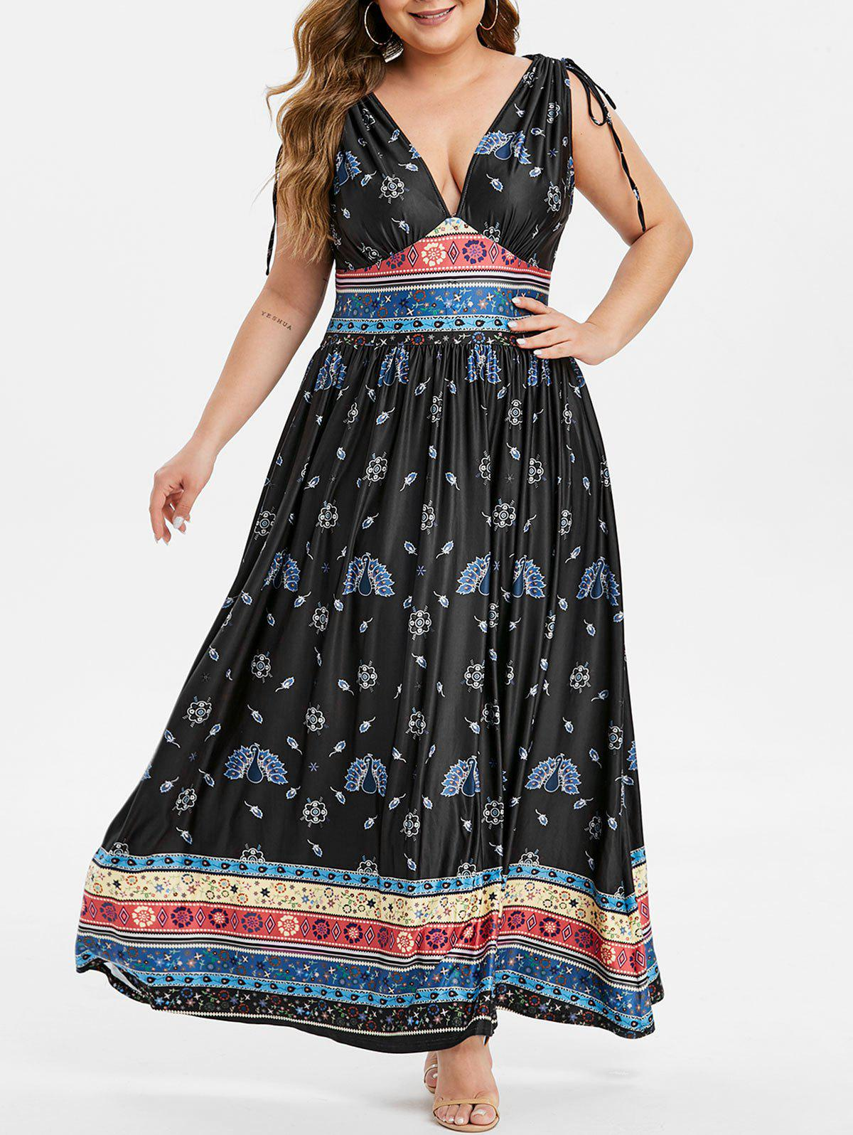 New Plus Size Flower Peacock Print Plunging Cinched Maxi Dress