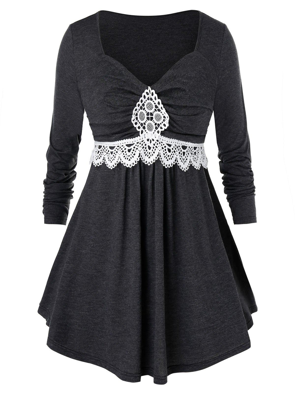 Плюс размер Ruched Contrast Lace T Shirt