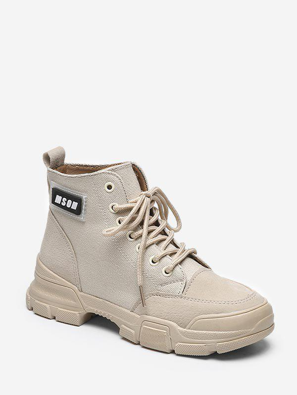 Buy Letter Graphic Cloth Cargo Boots