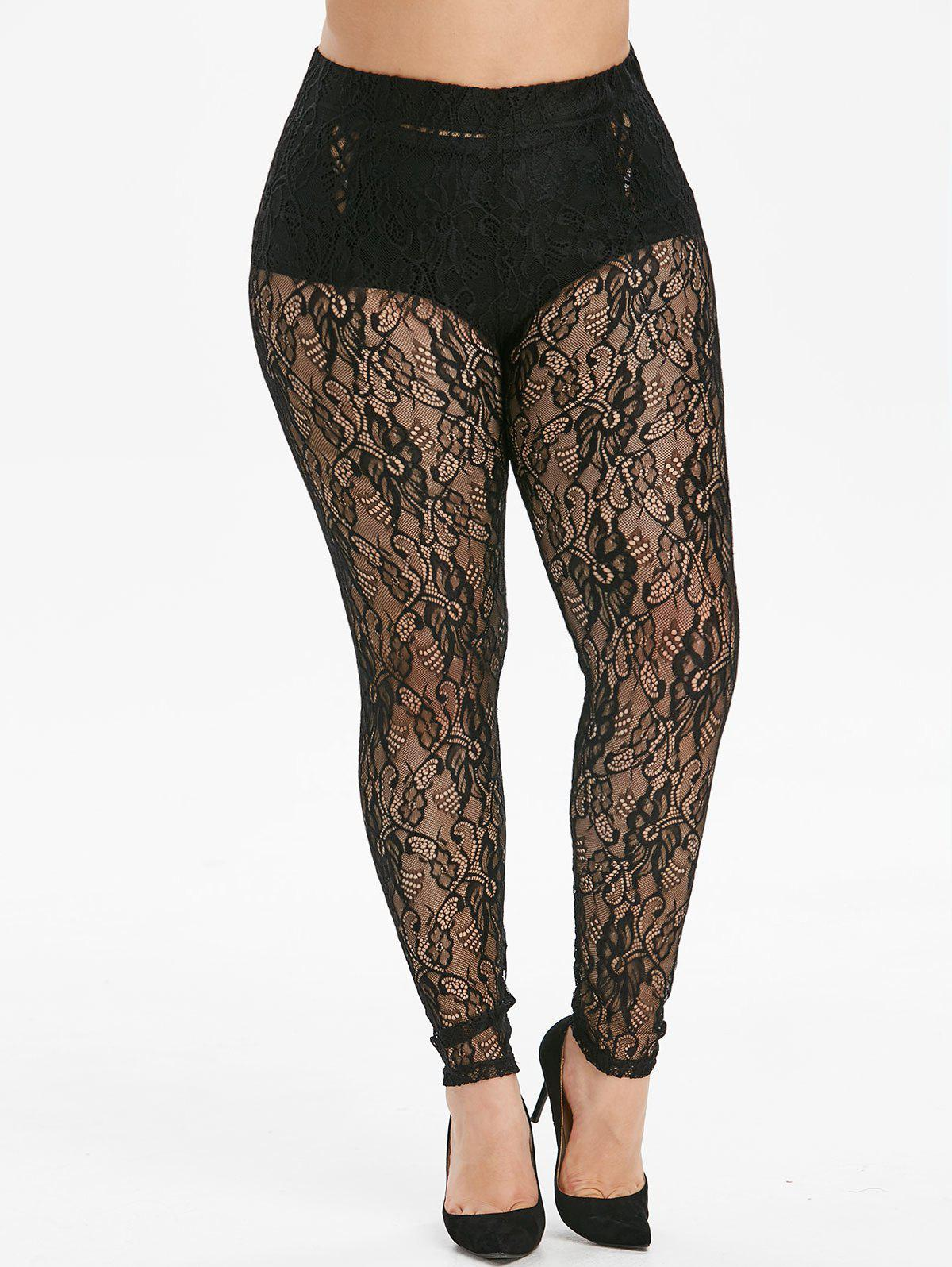 Chic Openwork High Waisted Lace Plus Size Leggings
