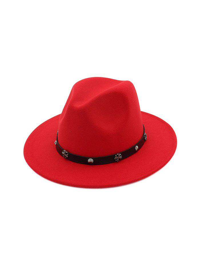 Chic Alloy Embellished Belt Jazz Hat