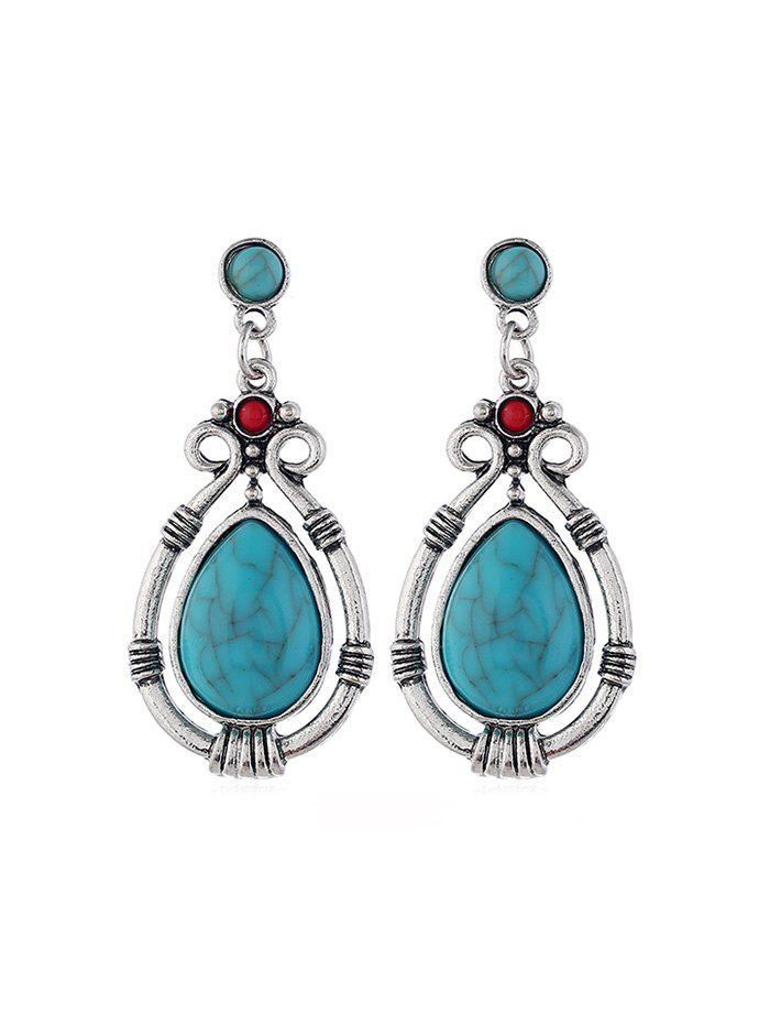 Faux Turquoise Hollow Out Water Drop Earrings, Silver