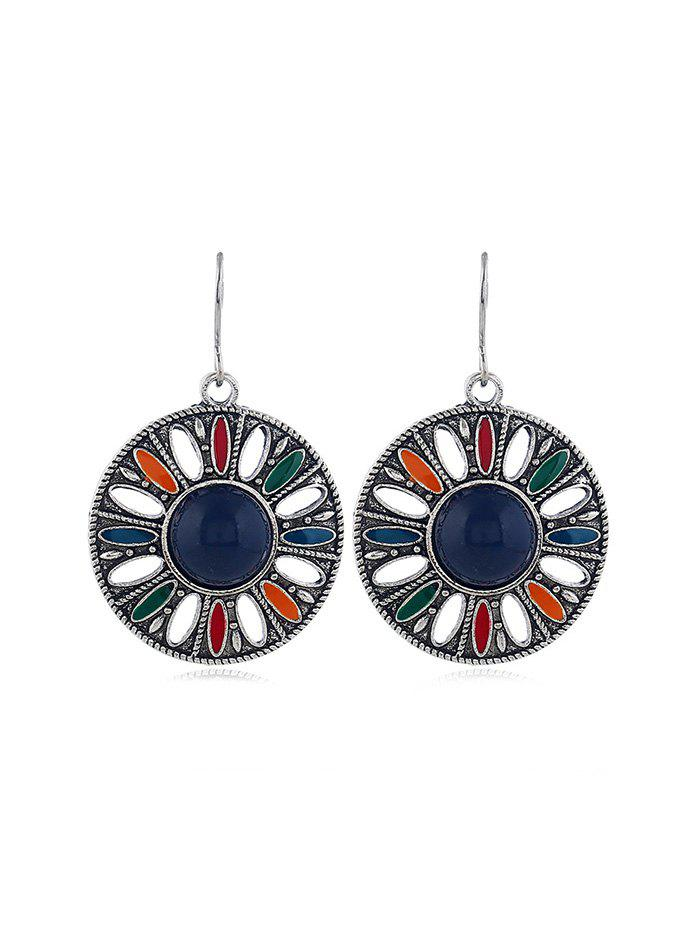 Trendy Faux Gem Hollow Out Round Hook Earrings
