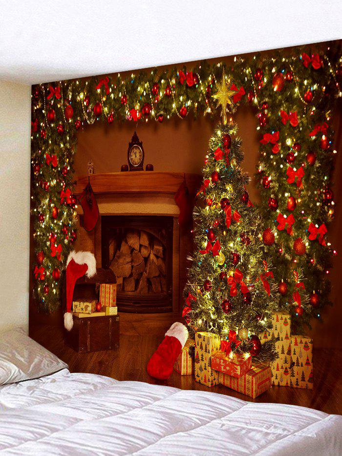 Hot Christmas Tree Gifts Fireplace Print Tapestry Wall Hanging Art Decoration