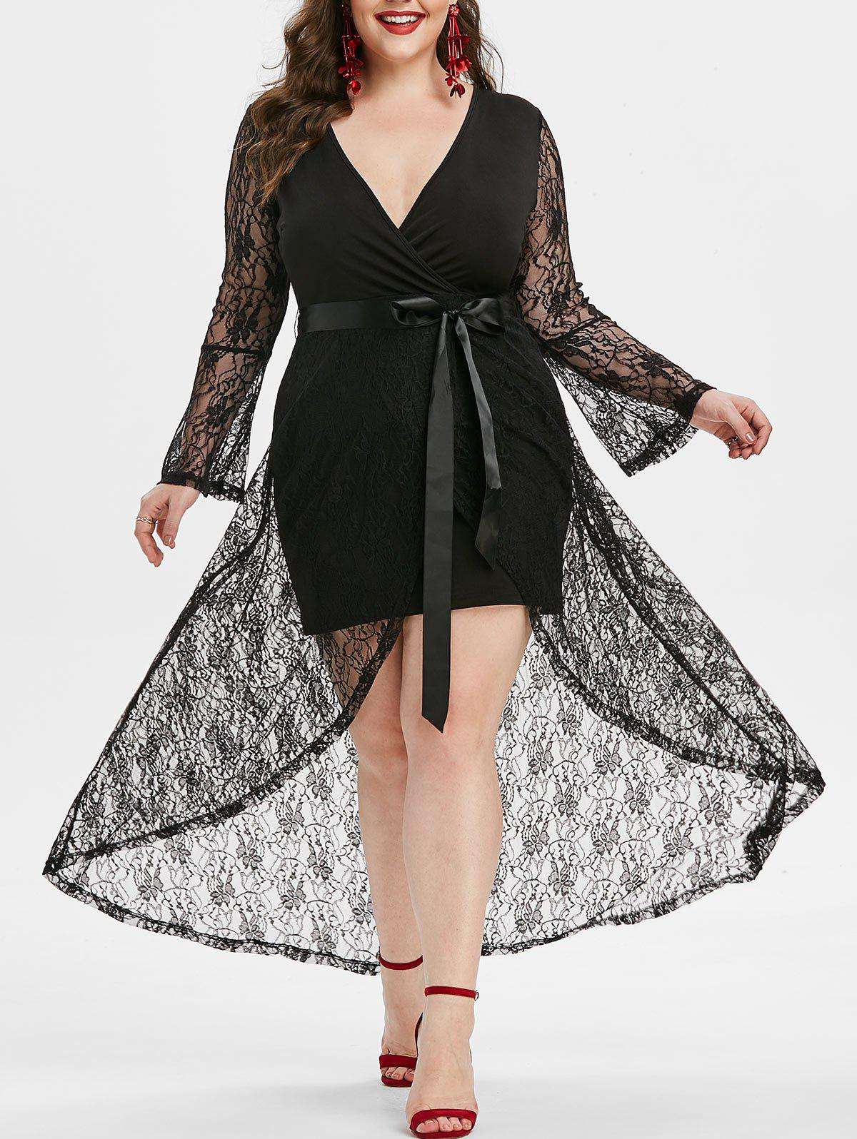 Fashion Plus Size Plunging Neck Bell Sleeves Lace Overlay High Low Prom Dress
