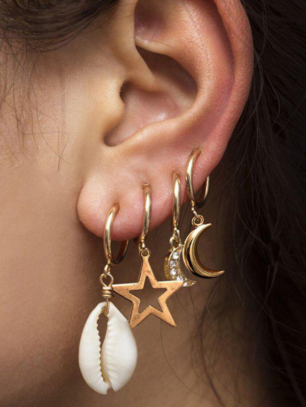 Best 4Pcs Stars Moon Shell Drop Earrings Set