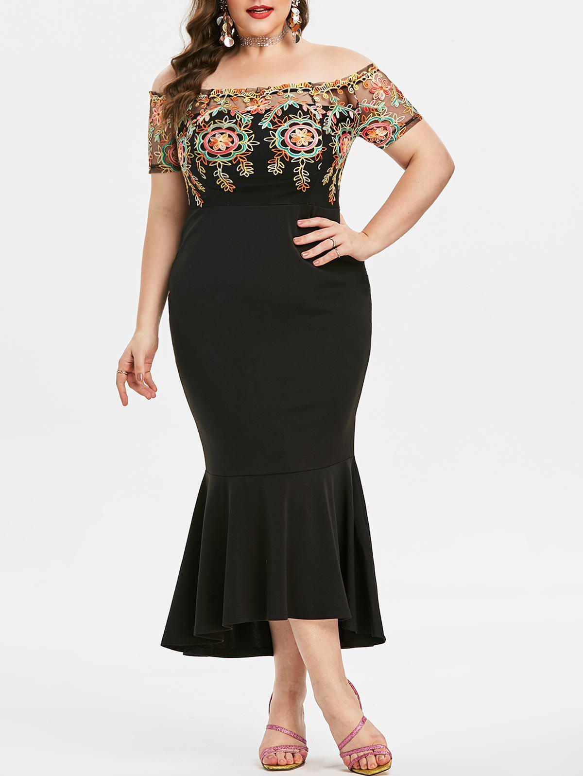 Buy Plus Size Off Shoulder Embroidered Fishtail Cocktail Dress