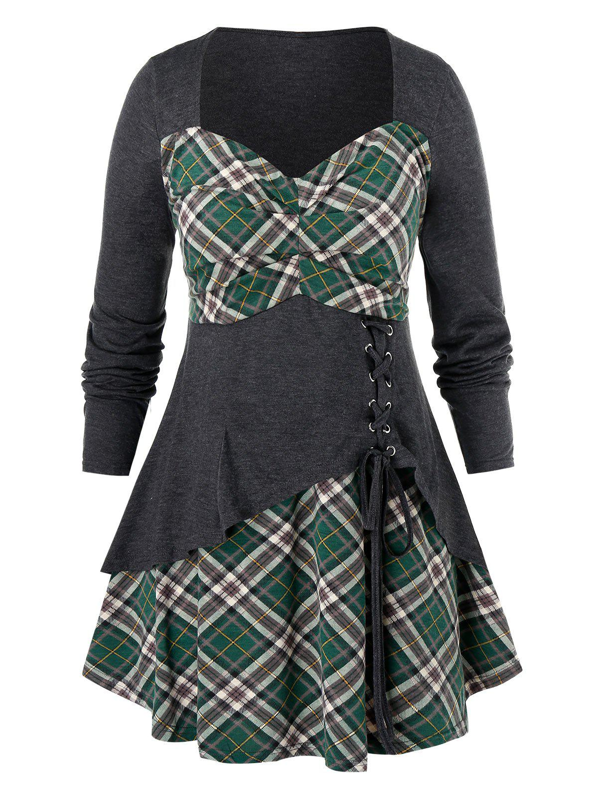 Affordable Plus Size Plaid Lace Up Tunic T Shirt