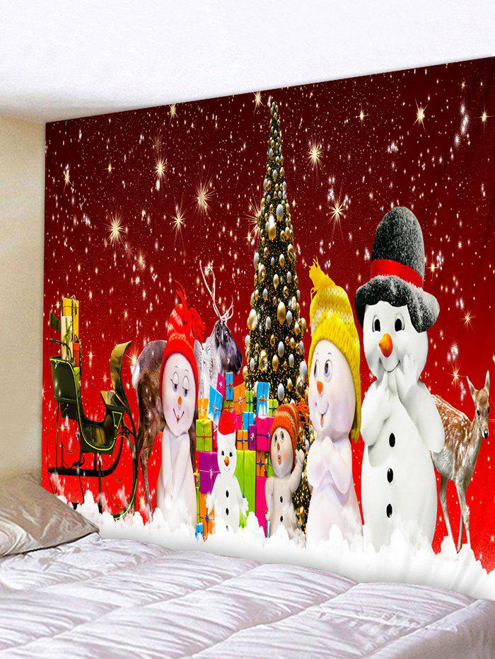 Affordable Christmas Tree Snowman Family Print Tapestry Wall Hanging Art Decoration