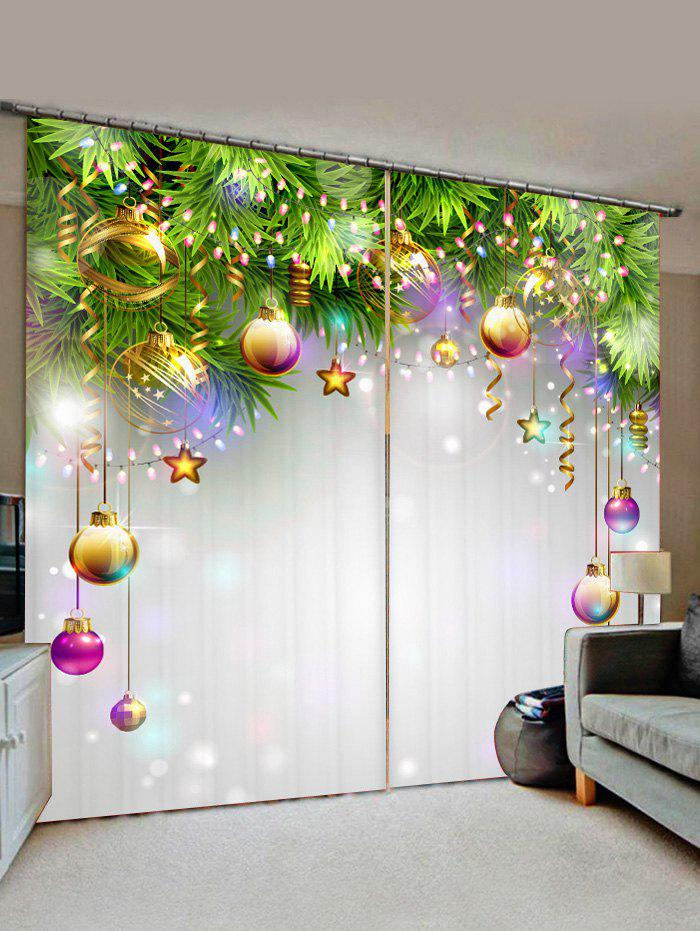 Outfit 2 Panels Christmas Balls Stars Printed Window Curtains