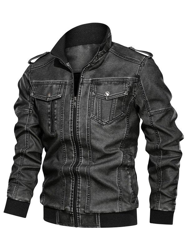 Best Solid Color Faux Leather Cargo Jacket