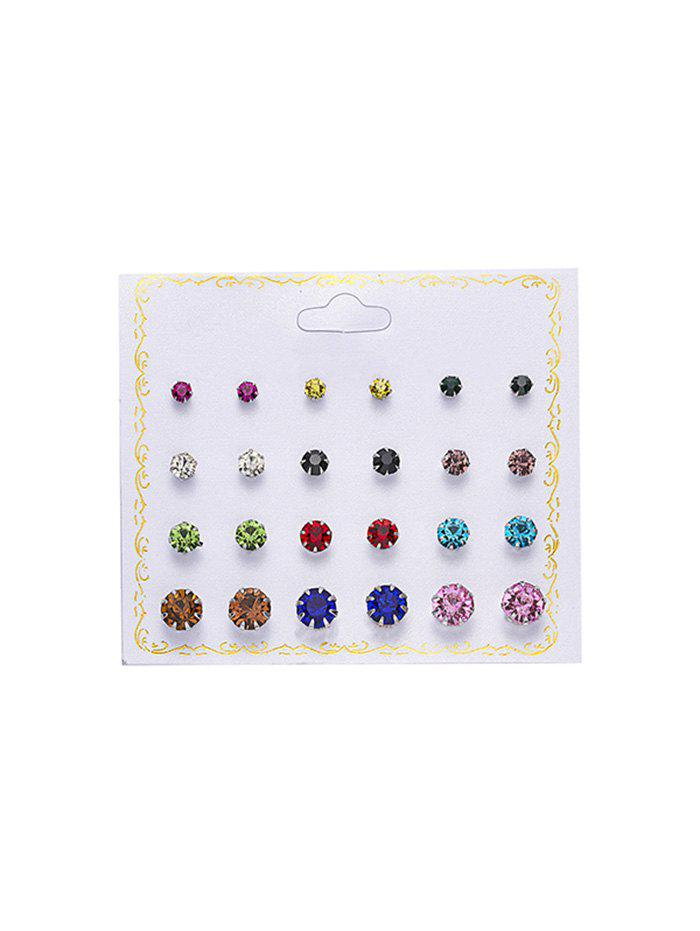 Latest 12 Pairs Brief Rhinestone Stud Earrings Set