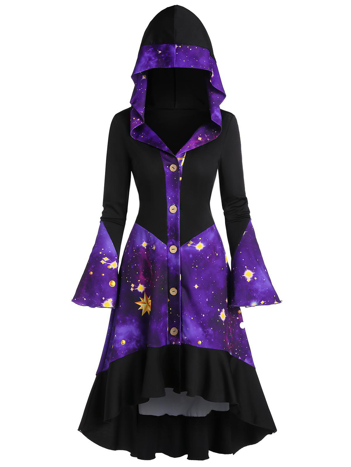 Trendy Galaxy Print Flare Sleeve Hooded Button Up High Low Coat